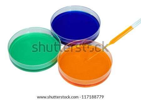 Colorful fluid in dishes for laboratory use - stock photo