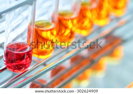 Colorful fluid in test tube for laboratory use
