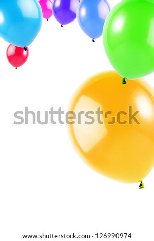 colorful flying balloons isolated on white, vertical image