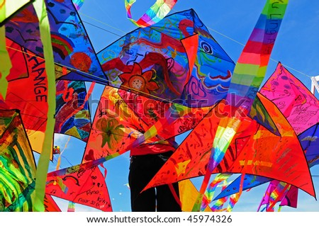 colorful flying kites - stock photo