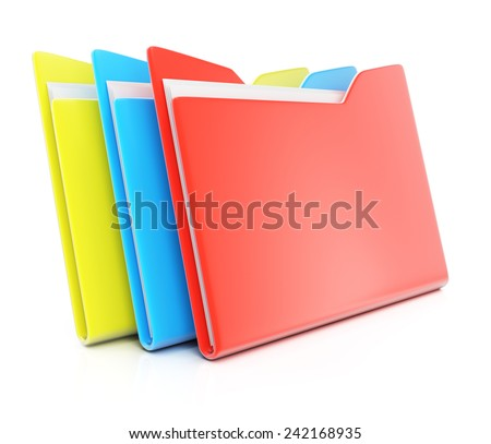 Colorful folders isolated on white background. 3d render - stock photo