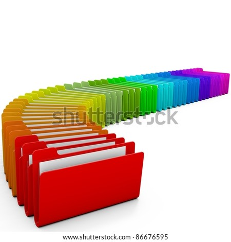 Colorful folders, over white background