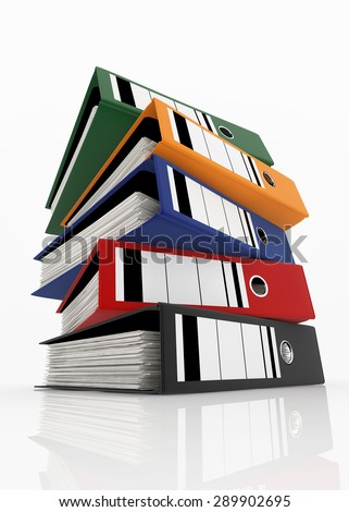 Colorful folders stack on white background - database storage concept. - stock photo