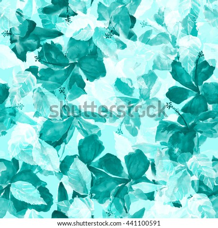 Colorful foliage seamless pattern. Watercolor painting leaves background with layering effect.