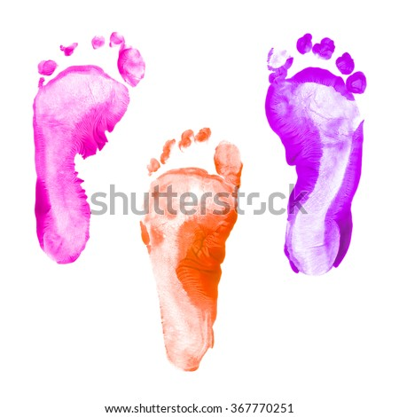 colorful foot prints kid set isolated on white background for art education top view