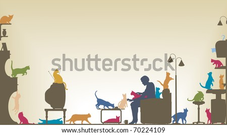 Colorful foreground silhouette of a woman in a living room with twenty cats with copy space - stock photo