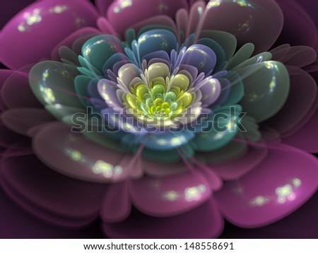 Colorful fractal flower - stock photo