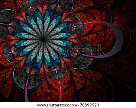 Colorful fractal flower pattern - stock photo