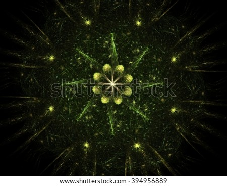 Colorful fractal rings, digital artwork - stock photo