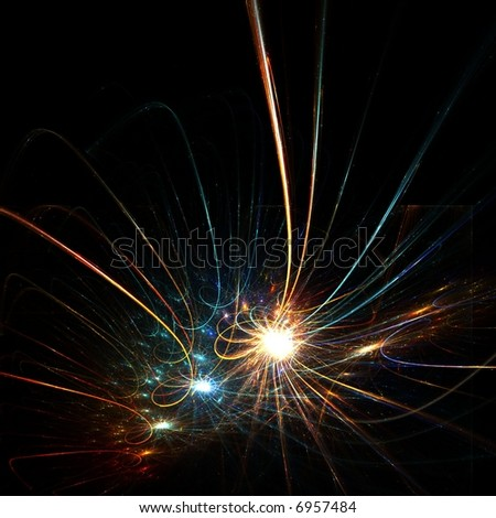 Colorful fractal sparkling stars - stock photo