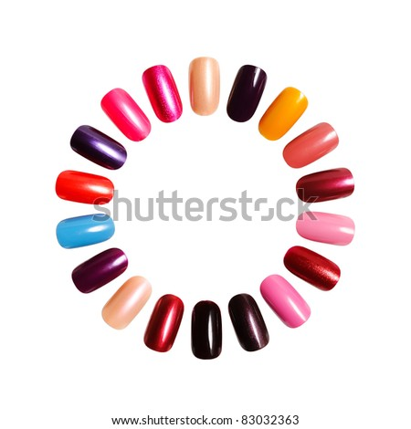Colorful frame. Figures on nails against a white background - stock photo