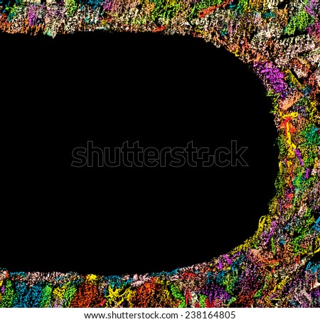 Colorful frame image isolated on black background, copy space available.Hand drawing on blackboard, horizontal shot, creativity concept