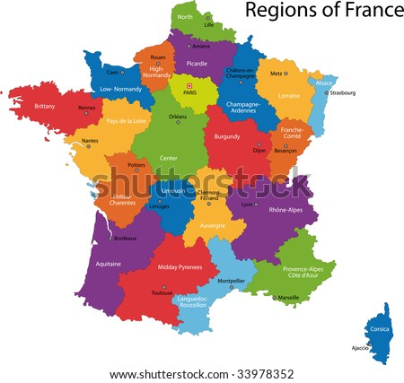Colorful France map with regions and main cities - stock photo