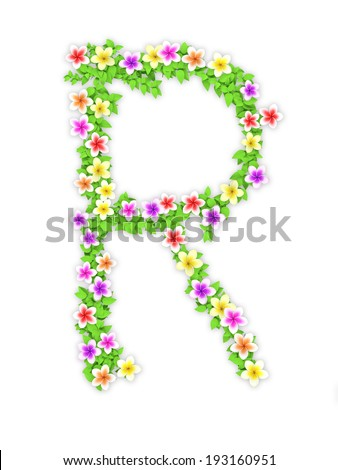 colorful frangipani and ivy  alphabet on white with clipping path