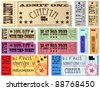 Colorful free admission and sale ticket Illustrations - stock photo