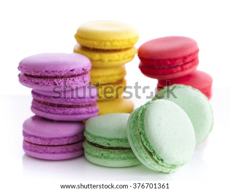 Colorful French Macarons on the white background - stock photo