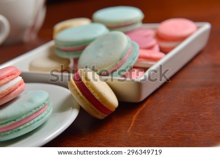 colorful French macaroons in different flavors  - stock photo