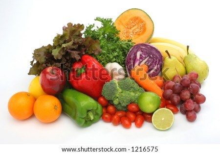 Colorful fresh group of fruits and vegetables for a balanced diet. White background. Look at my gallery for more fresh fruits and vegetables. - stock photo