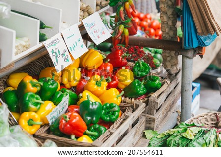 Colorful fresh peppers in the market