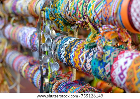 Colorful friendship bracelets sold at famous Masaya Market (Mercado de Artesanias de Masaya) in Nicaragua