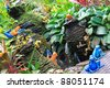 Colorful frogs and mini pottery fountain at the tropical garden, Thailand - stock photo