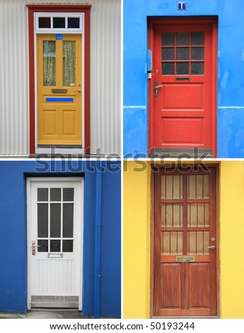 Colorful front door collection - stock photo