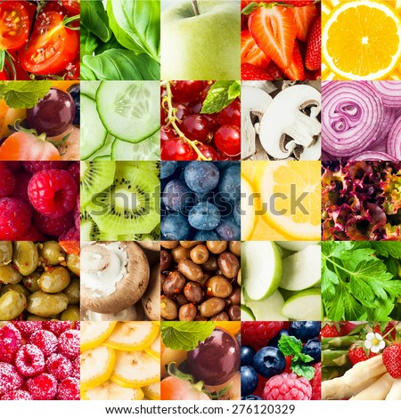 Colorful fruit and vegetable collage food background with assorted fall berries, basil, apple, orange, cucumber, mushroom, onion, olives, kiwifruit, banana, lettuce and parsley in square format - stock photo