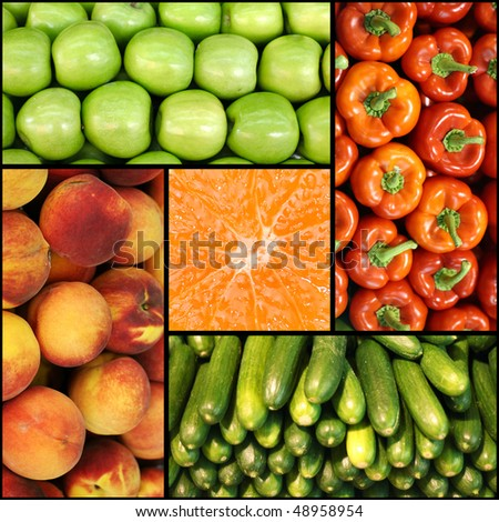 colorful fruit and vegetable collage of five photos - stock photo