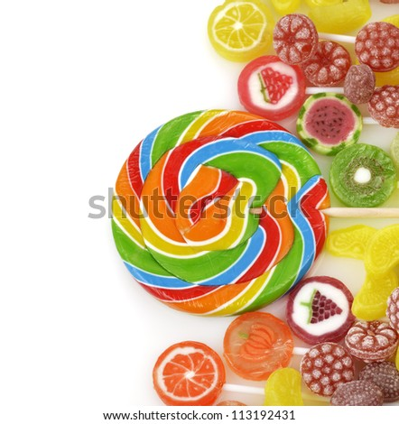 Colorful Fruit Candies On White Background