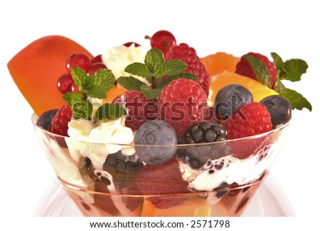 Colorful Fruit Cocktail With Mixed Berries, Apricot, Orange, Cherries, Currents, Shortcake & Amaretto ~ Isolated on White ~ Clipping Path Included