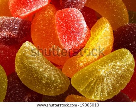 colorful fruit jellies macro - stock photo