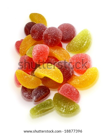 colorful fruit jellies on white background with shadows - stock photo