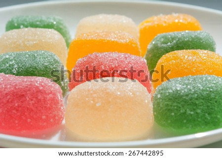 colorful fruit jelly candies (closeup) - stock photo