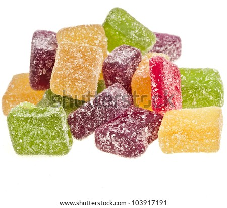colorful fruit jelly candy  isolated on white background - stock photo