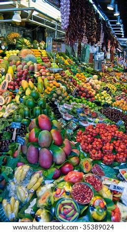 Colorful Fruit Market - stock photo