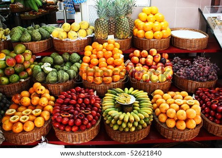 Colorful fruit stand in a local market - stock photo