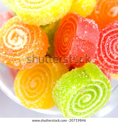 Colorful fruit sugary candies close-up - stock photo