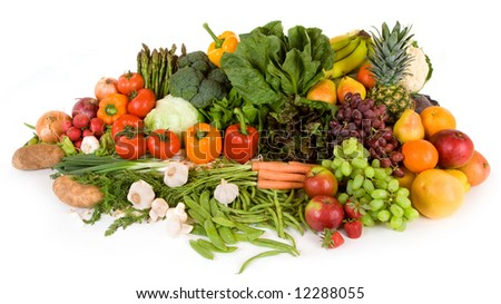 Colorful Fruits and Veggies - stock photo