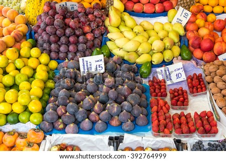 Colorful fruits for sale at a market in Istanbul, Turkey