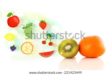 Colorful fruits with hand drawn illustrated fruits on white background