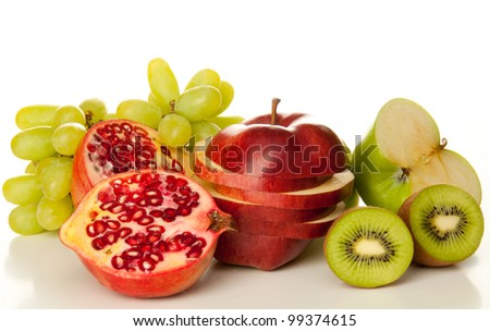 Colorful fruits with on white background