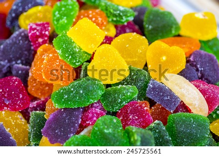 Colorful fruity sweetmeats and jelly close up - stock photo