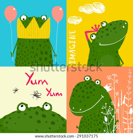 Colorful Fun Cartoon Frogs Animals Greeting Cards for Kids. Amusing vivid baby animals illustrations for children. Raster variant. - stock photo