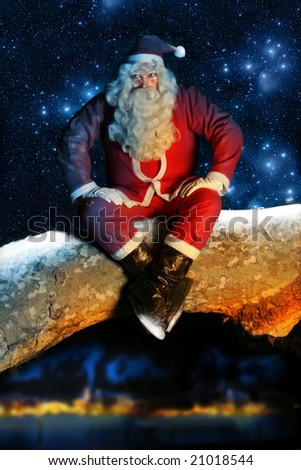 Colorful fun portrait of magical Santa Claus with snow falling