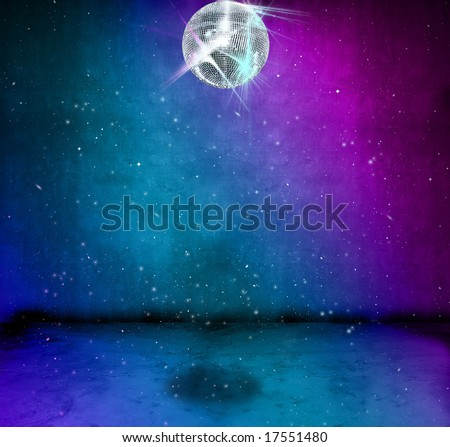 Colorful funky grunge room with glittering disco ball - stock photo