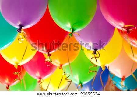 Colorful funny balloons. Background, low depth of focus. - stock photo