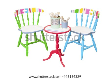 Colorful furniture, chairs and table, stock picture