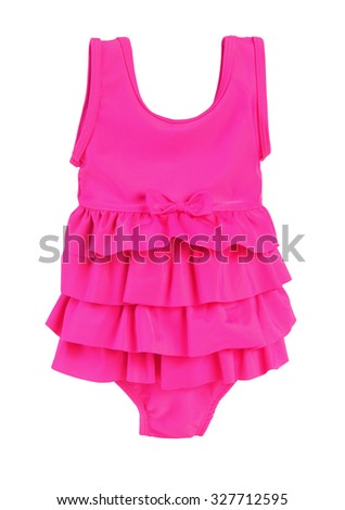 Colorful fused kids swimsuit. Isolated on white.