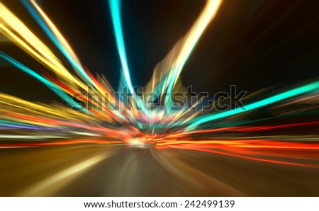 colorful, fuzzy enlightened cars - stock photo