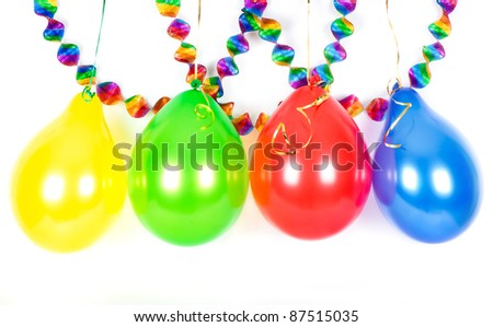 colorful garlands and balloons. party decoration - stock photo